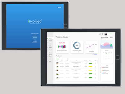 Involved Organization Dashboard illustration ipad community volunteering organization branding design ui ux volunteer admin