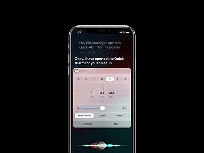 30 Days of Art: (12) Apple iPhone Quick Alarm xd ux design ux ui design ui siri mockup iphone x iphone ios design concept clock apple app design app alarm clock alarm adobe xd adobe