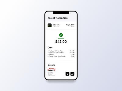 30 Days of Art: (17) Recent Transaction/Itemized Receipt itemized wallet invoice receipt fintech transaction app design app sketch ux design ux ui design ui design