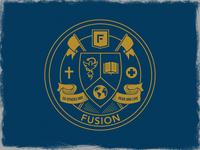Fusion Crest cross shield college spurgeon missions crest fusion