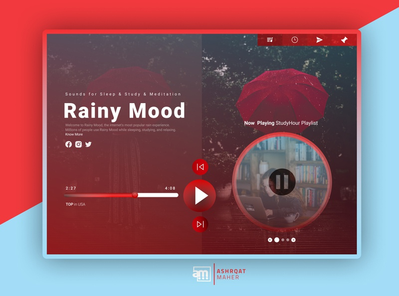 Rainy Mood Website Redesign inspiration dailyui figmadesign figma uxdesign interaction interface ui design uidesign uiux web  design web app website design web design webdesign website web redesign ui creative