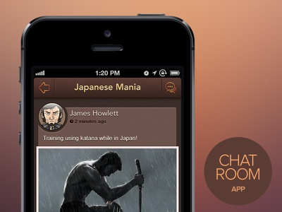 Chat Room App (concept) chat chat room iphone app app brown dark