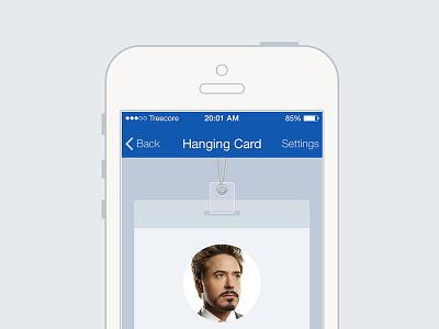 iPhone Card App iphone iphone app card hanging card mobile app application blue flat ios7