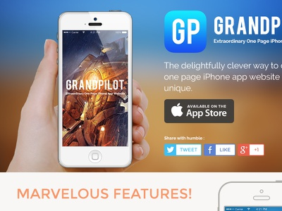 GrandPilot One Page grandpilot landing page one page website app website flat