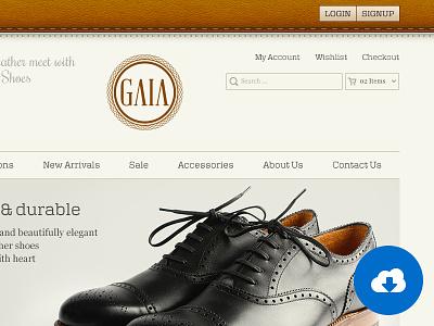 Gaia Homepage gaia homepage website ui user interface freebie brown leather