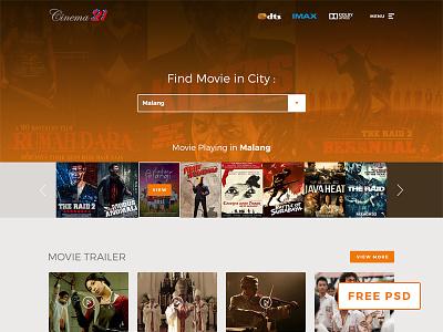 Cinema21 Re-design Concept cinema21 concept movie website website film website ui user interface mockup homepage brown orange indonesian movie