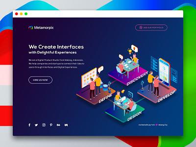 Metamorpix Temporary Site  metamorpix landing page landing colorful vibrant gradient isometric illustration website hero design ui