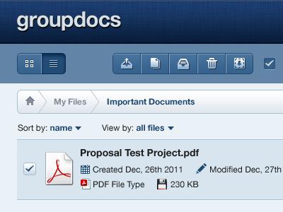 Groupdocs Dashboard dashboard file linen texture blue applelish breadcrumbs ui interface