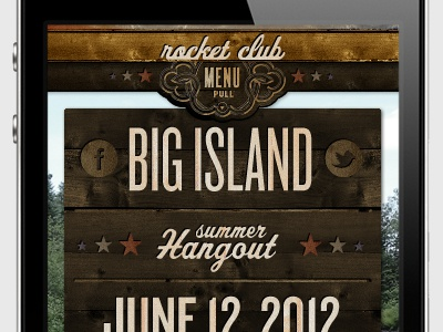 """Rocket Club  - Mobile """"North Country Hangouts"""" Interface iphone wood country ui"""