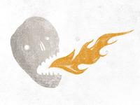 fire spitting skull