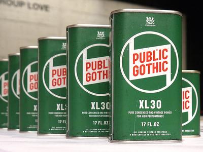 Public Gothic 17 FL.OZ font type antrepo a2591 typography vintage condensed can zurich switzerland