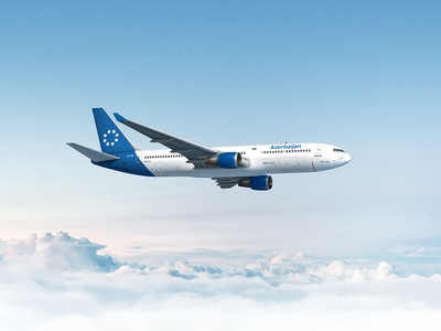 Azerbaijan Airlines Brand ID modern typography blue clouds azerbaijan livery logotype icon identity id brand airlines