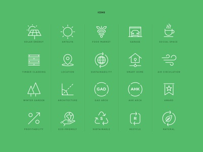 Sustainable Home Icons real estate smart icon line recycle green sustainable icons