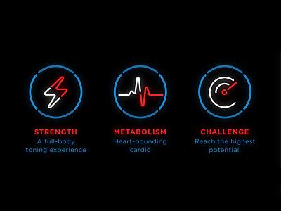 Neon Icons for Futuristic Fitness Studio typography futuristic fitness line colourful neon icon