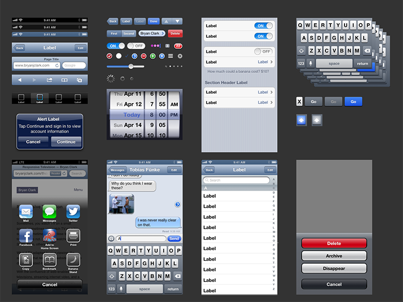 iOS 6 UIKit Template for Sketch app by Bryan Clark on Dribbble