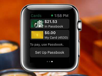 Starbucks Cards on Apple Watch starbucks apple-watch watch card cards ios