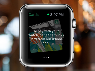 Starbucks Cards on Apple Watch - Empty State starbucks watch apple-watch ios card cards