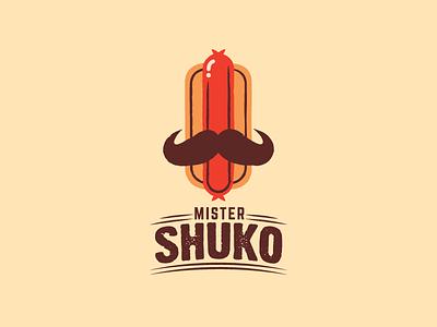 Mister Shuko mark mustache grill guatemala cart sausage hot dog food brand logo