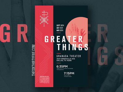 635 Greater Things hands dallas texas branding poster catholic movement church chi rho symbol millenial campaign