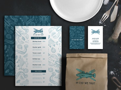 Seafood restaurant - logodesign and branding illustration vector package design branding logo design