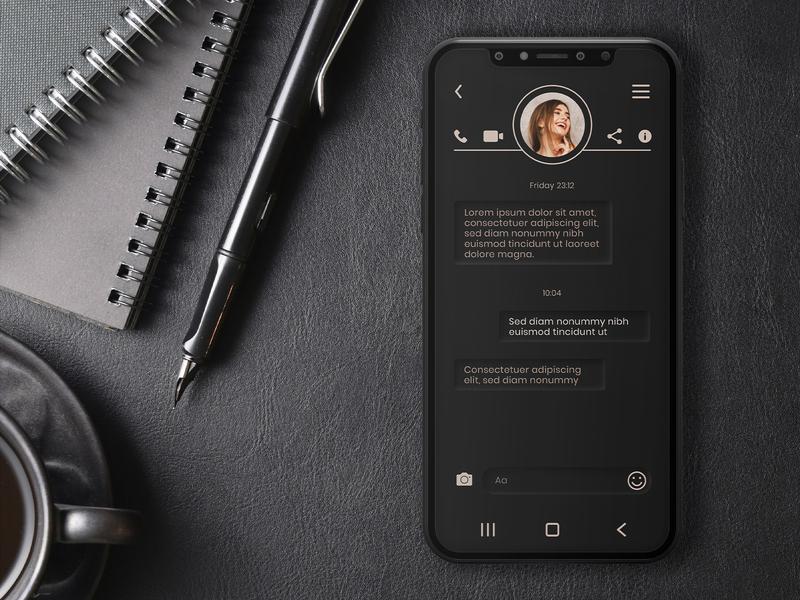 Daily UI Challenge - Day 013 dark app direct messaging ui dark ui minimal daily ui dailyui vector design