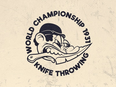 Knife throwing. knife championship world retro oldstyle cartoonstyle cartoon character cartoon 1930s 1930