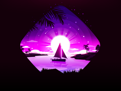 Sailboat inspiration trend dribbble palm star calm captain marine fisherman shore land rhombus isle pink sailboat forest landscape nature proart prokopenko