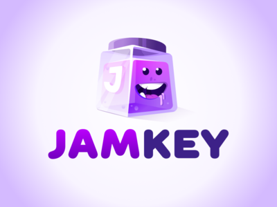 JamKey Logo laughter vector branding smirk key jar muzzle character jam smile face logo design jamkey logotype logo prokopenko proart