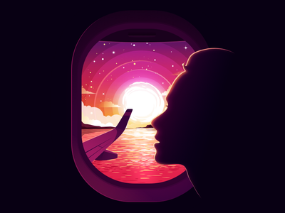Dazzling Sunset colors plane water colorful horizon woman girl face aeroplane radiance forest window negative landscape nature illustration prokopenko proart fly sun