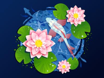 Lilies japan koi fishing inspiration inspire carp pond bloom lotus forest river lake flower fish lily water trend illustration prokopenko proart