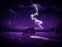 Thunderstorm lawn meadow villa top flash weather field house lightning slush clouds landscape rain thunder nature illustration prokopenko proart storm thunderstorm