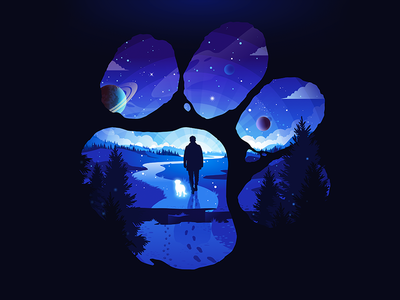 Man's Best Friend travel field life way patreon galaxy space planet road paw dog man forest trend negative landscape nature illustration prokopenko proart