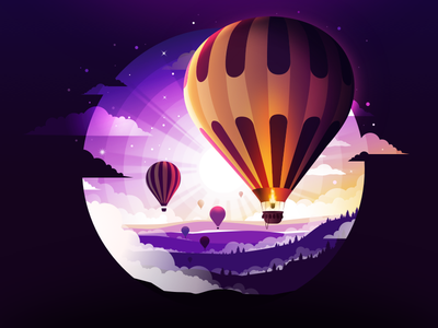 Balloon take off takeoff field sunset cloud inspire inspiration radiance forest ball flight fly aerostat balloon trend landscape nature illustration prokopenko proart