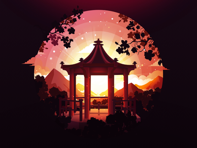 Garden Eyes inspire popular trend sakura circle japan sunset summer radiance pavilion china alcove forest negative landscape nature illustration prokopenko proart garden
