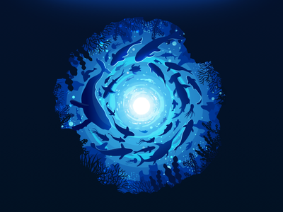 Fish Swirl first dribbble artwork landscape school swirl vortex whale bottom depth ocean undersea underwater whirlpool fish negative trend illustration prokopenko proart