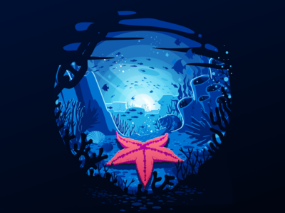Starfish seaworld seaweed reef shells shell bottom undersea underwater depth ocean star sea fish starfish water negative trend illustration prokopenko proart