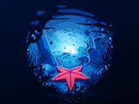 Starfish seaworld seaweed reef shells shell bottom undersea underwater depth ocean star sea fish starfish water negative trend illustration prokopenko proart