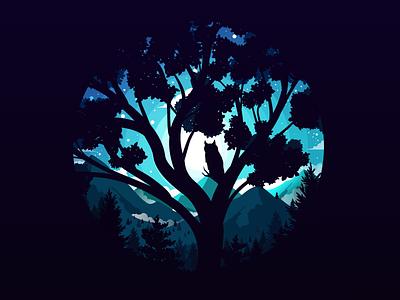 Night Guardian inspiration fineart artwork art tree calm silence mountain negative forest landscape nature illustration prokopenko proart bird owl guardian night