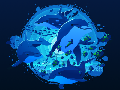 Dolphins 🐬 circle artwork art popular fishing depth negative trend nature ocean life sea undersea underwater fish ocean illustration prokopenko proart dolphin dolphins