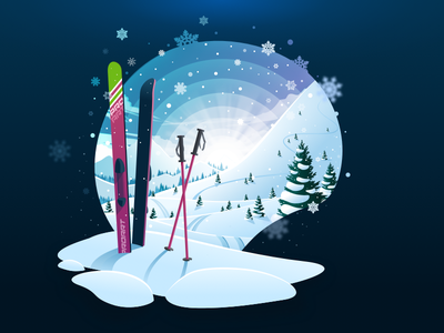 Ski Winter ❄️ sunset relax silence calm travel snowflakes cold snowfall snow adventure mountain negative landscape nature illustration prokopenko proart skiing winter ski