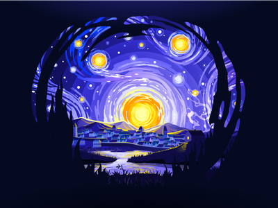 Starry Night popular night city inspiring inspire nice van gogh circle negative art village sky stars swirl night impressionism landscape nature illustration prokopenko proart