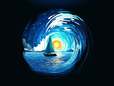 Sea Wave vangogh van gogh moment negative space impressionism swirl sea ocean wave sailboat ship yacht boat tide circle landscape nature illustration prokopenko proart