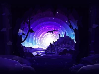 Dragon Castle 🐲 🏰 inspire scene mysterious mysterio fantasy art fantasyart fantasy travel blue stone cave trend castle dragon river landscape nature illustration prokopenko proart