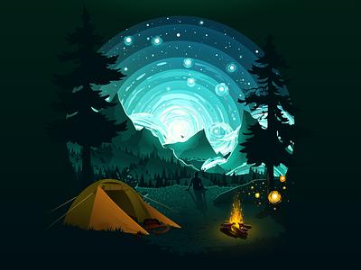 Ursa Major stars night bonfire trip traveling travel constellation big dipper ursa major fire tent tourist tourism mountain forest landscape nature illustration proart prokopenko