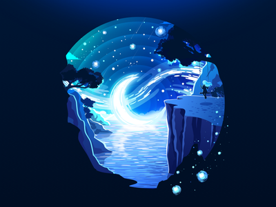 Moon Girl artstyle scene impressionism inspire swing calmness pacification blue art circleart night blue girl moon negative landscape nature illustration prokopenko proart