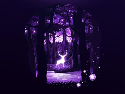 Forest Spirit luminous deity keeper ghost river circleart prok-art impressionism scene wild violet spirit deer tree forest landscape nature illustration prokopenko proart