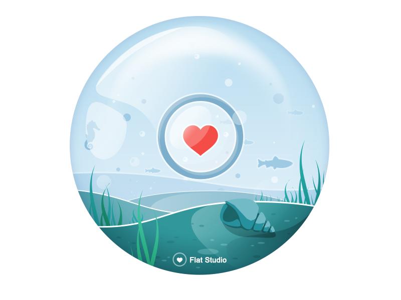 Illustration Fs #8 shell water under water see heart vector flat studio fs illustration