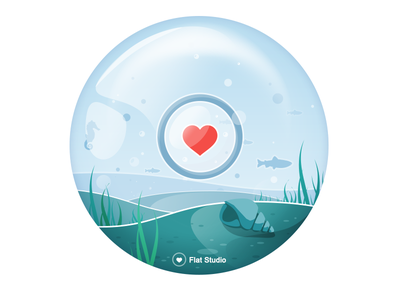 Illustration Fs #8 shell water under water see heart vector flat studio fs illustration