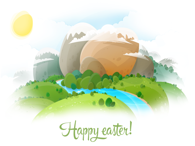Happy Easter!  holiday eggs egg nature illustration easter