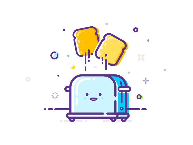 Happy toaster! pro art pro-art illustration mbe toast bread food kitchen toaster happy